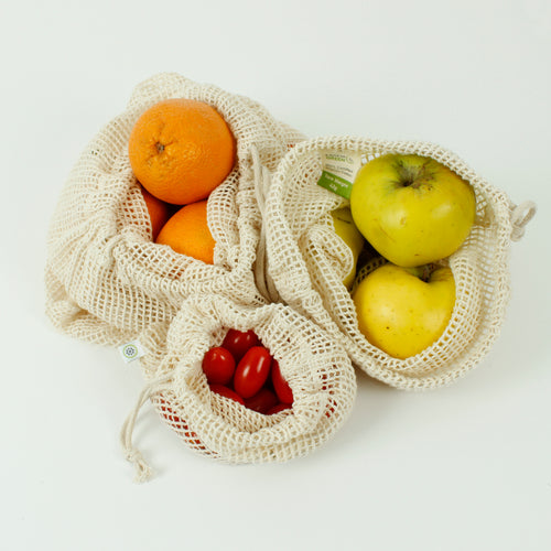 Organic Cotton Mesh Produce Bags, Set of 3