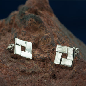 QUADRAT | Art Nouveau Silver Earrings-Esoterico Shop-Esoterico Shop
