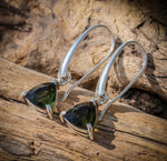 AMBRA | Raw Moldavite Sterling Silver Earrings-Esoterico Shop-Esoterico Shop
