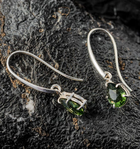 SINOPE | Faceted Moldavite Silver Earrings-Esoterico Shop-Esoterico Shop