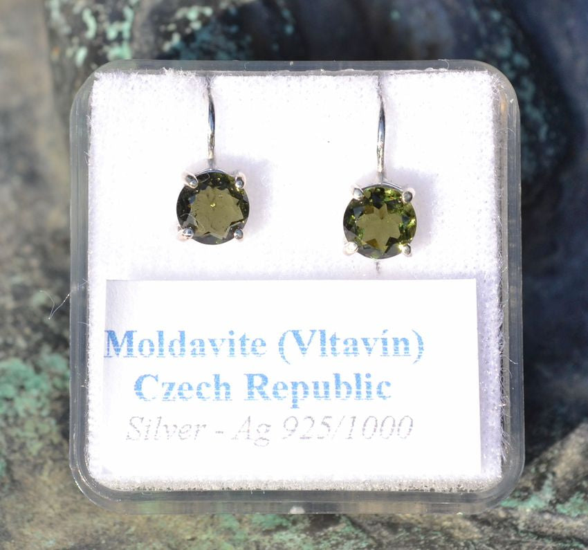 ARIETIS | Moldavite Sterling Silver Earrings-Esoterico Shop-Esoterico Shop