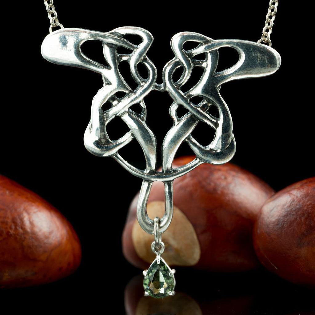 ART NOUVEAU | Moldavite Silver Necklace-Esoterico Shop-Esoterico Shop