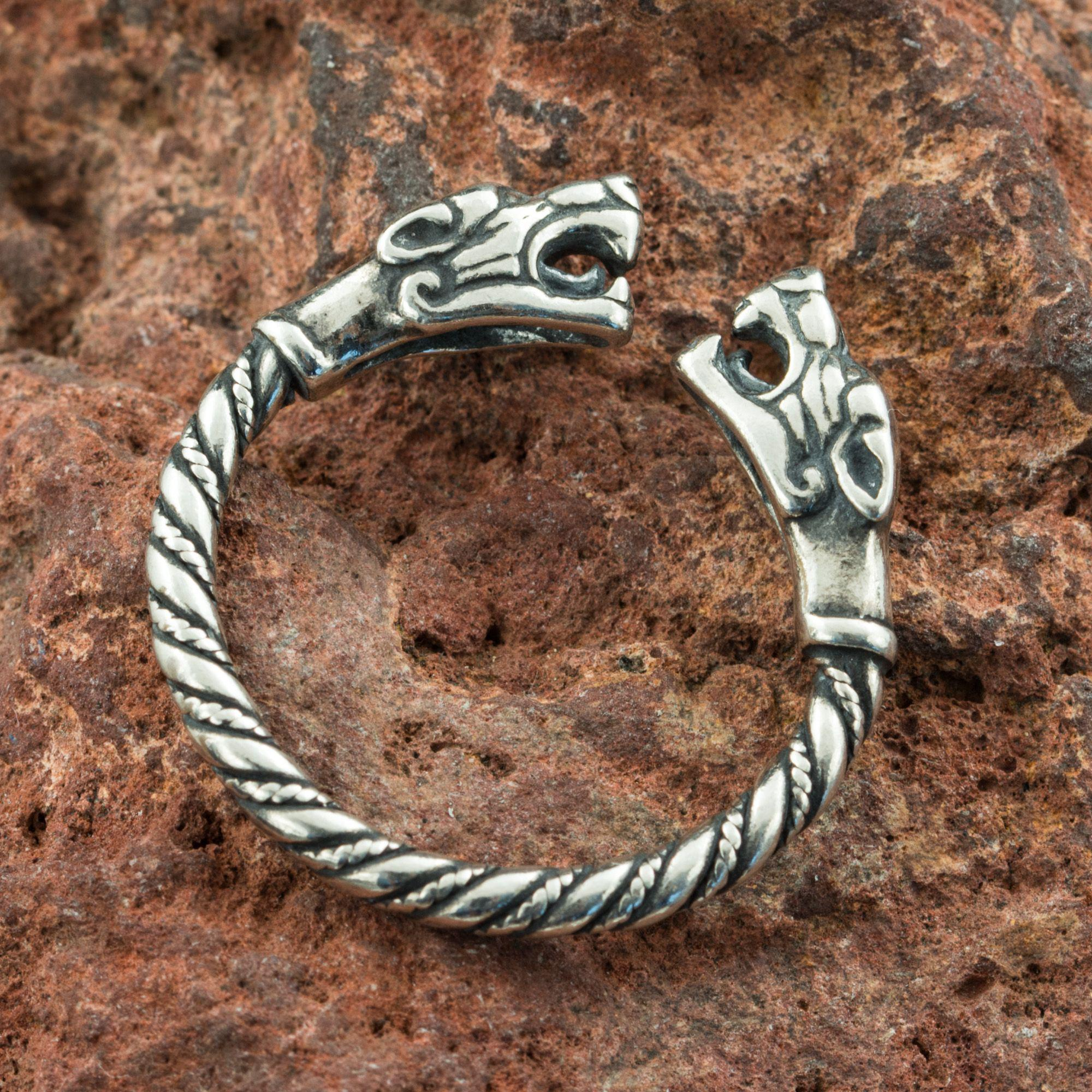 TWO WOLVES | Viking Silver Ring-Esoterico Shop-Esoterico Shop