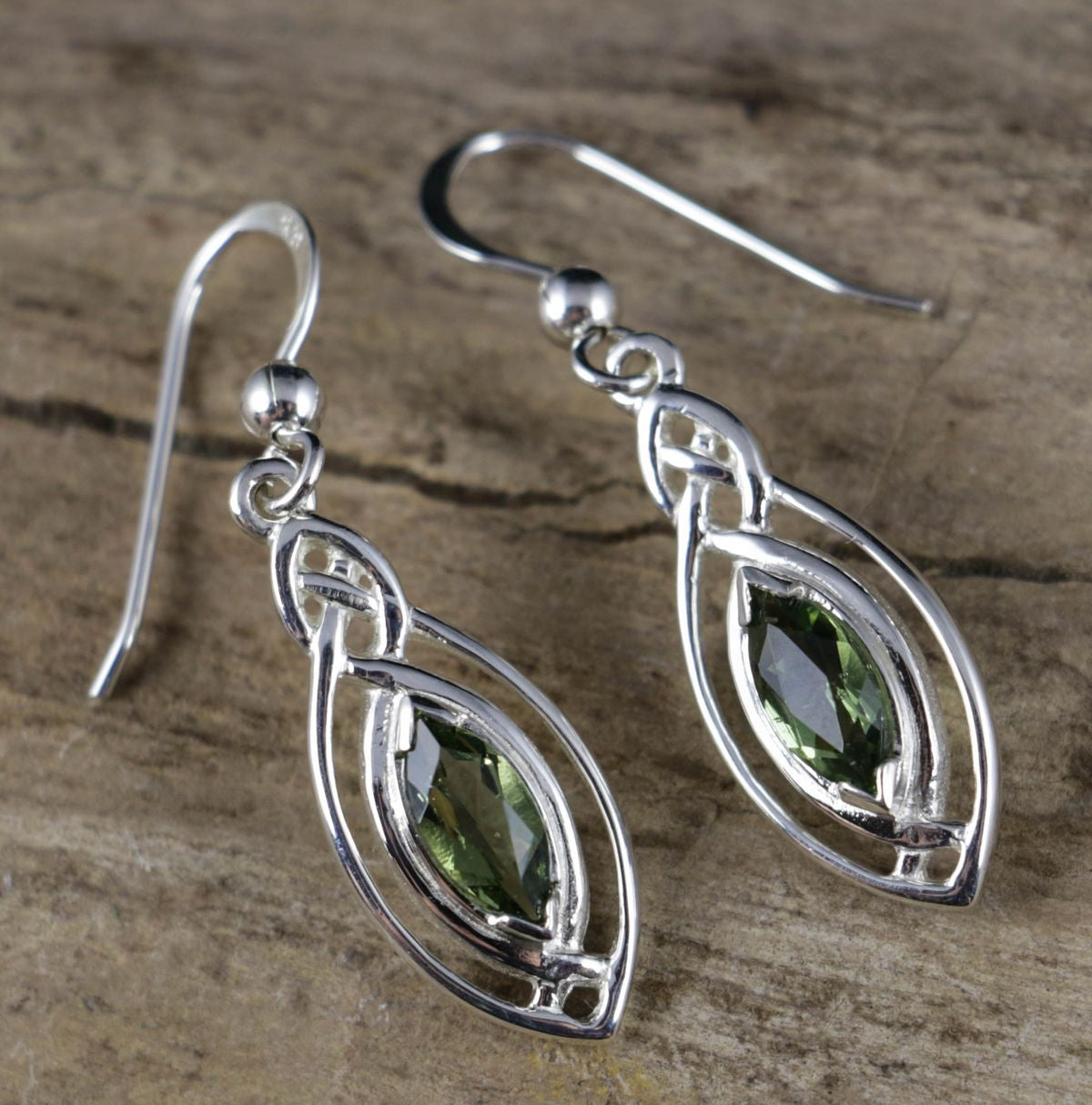 MAIA | Faceted Moldavite Silver Earrings