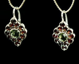 SIBILA | Moldavite and Garnet Silver Earrings-Esoterico Shop-Esoterico Shop