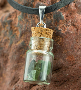 BOTTLED MOLDAVITES | Moldavite Jewel with Leather Cord Necklace-Esoterico Shop-Esoterico Shop