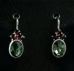 ADORA | Moldavite and Garnet Silver Earrings-Esoterico Shop-Esoterico Shop