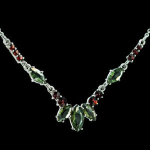 LUCRETIA | Moldavite and Garnet Silver Necklace-Esoterico Shop-Esoterico Shop