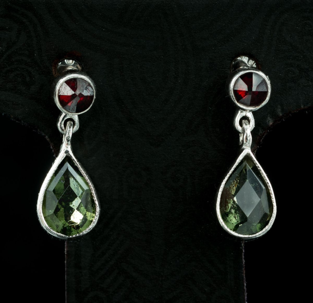 PETRONIA | Moldavite and Garnet Silver Earrings