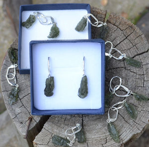 WILTH AHWA | Raw Moldavite Sterling Silver Earrings-Esoterico Shop-Esoterico Shop