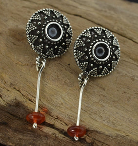 ROMAN EMPIRE | Carnelian and Hessonite Silver Earrings-Esoterico Shop-Esoterico Shop