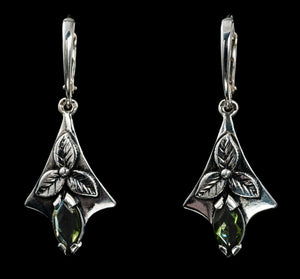 SHAMROCK | Moldavite Silver Earrings-Esoterico Shop-Esoterico Shop