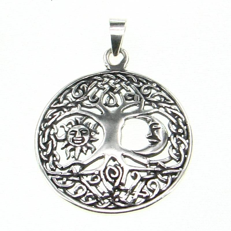 TREE OF LIFE | Sun and Moon in Living Tree Silver Pendant-Esoterico Shop-Esoterico Shop