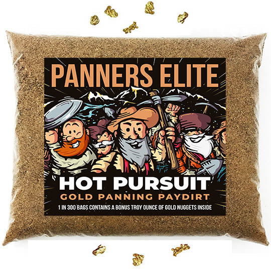 Buy 1 Get 1 FREE: Panners Elite 'HOT PURSUIT' Gold Panning Paydirt - 1 in 300 Bags Contains a Bonus Troy Ounce of Gold Nuggets