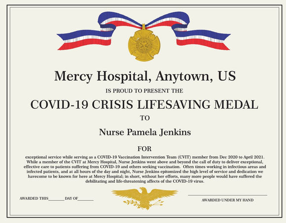 Personalized Certificate Covid-19 Lifesaving Medal