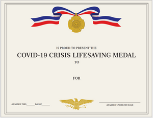Customizable Certificate Covid-19 Lifesaving Medal