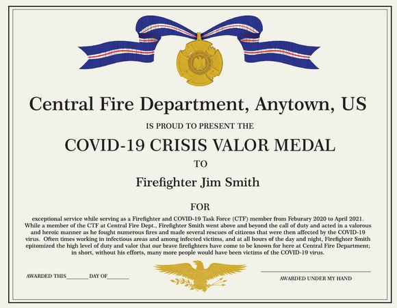 Personalized Certificate Covid-19 Valor Medal