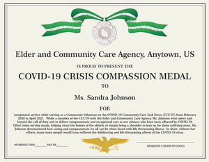 Personalized Certificate Covid-19 Compassion Medal