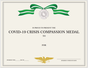 Customizable Certificate Covid-19 Compassion Medal