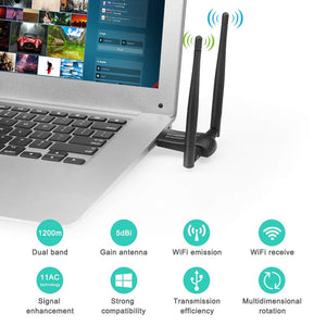 Zexmte Wireless USB WiFi Adapter 1200Mbps Dual Band 2.4GHz/300Mbps 5GHz/867Mbps - zexmte