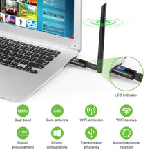 Load image into Gallery viewer, 1200Mbps Wireless USB Wifi Adapter USB 3.0 Wifi Dongle with 5dBi Antenna ZEXMTE - zexmte