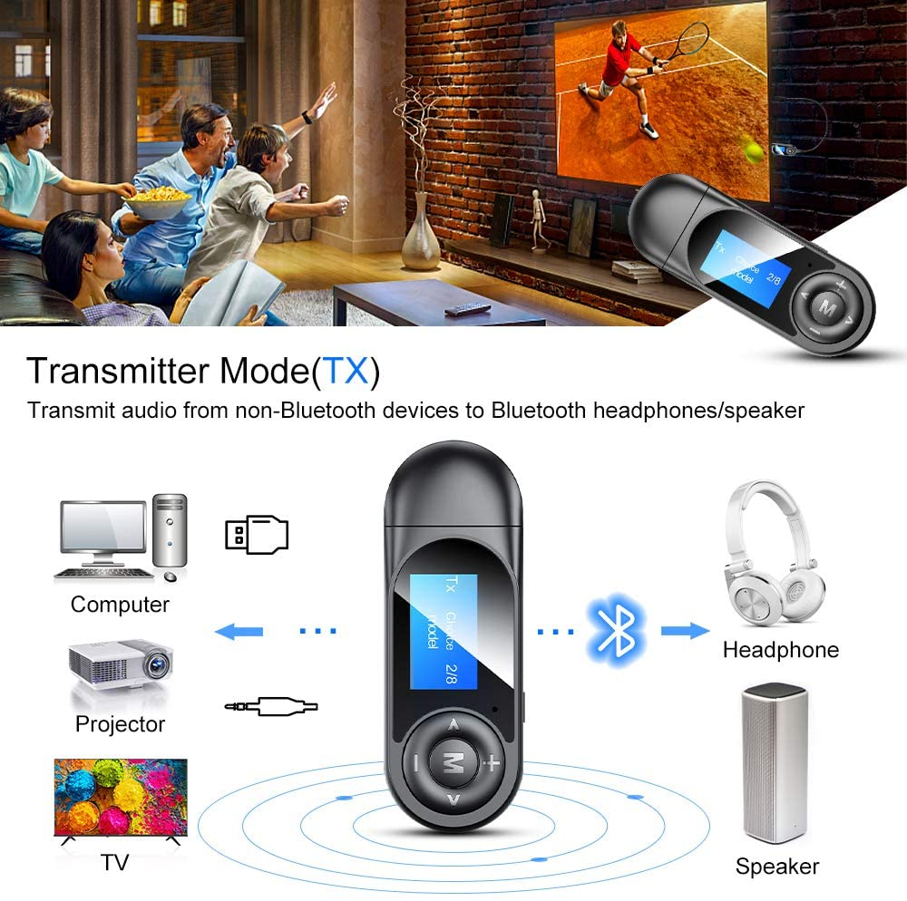 Zexmte 2 in 1 Bluetooth 5.0 Transmitter Receiver