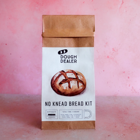 Dough Dealer No Knead Bread Kit on Pink Background