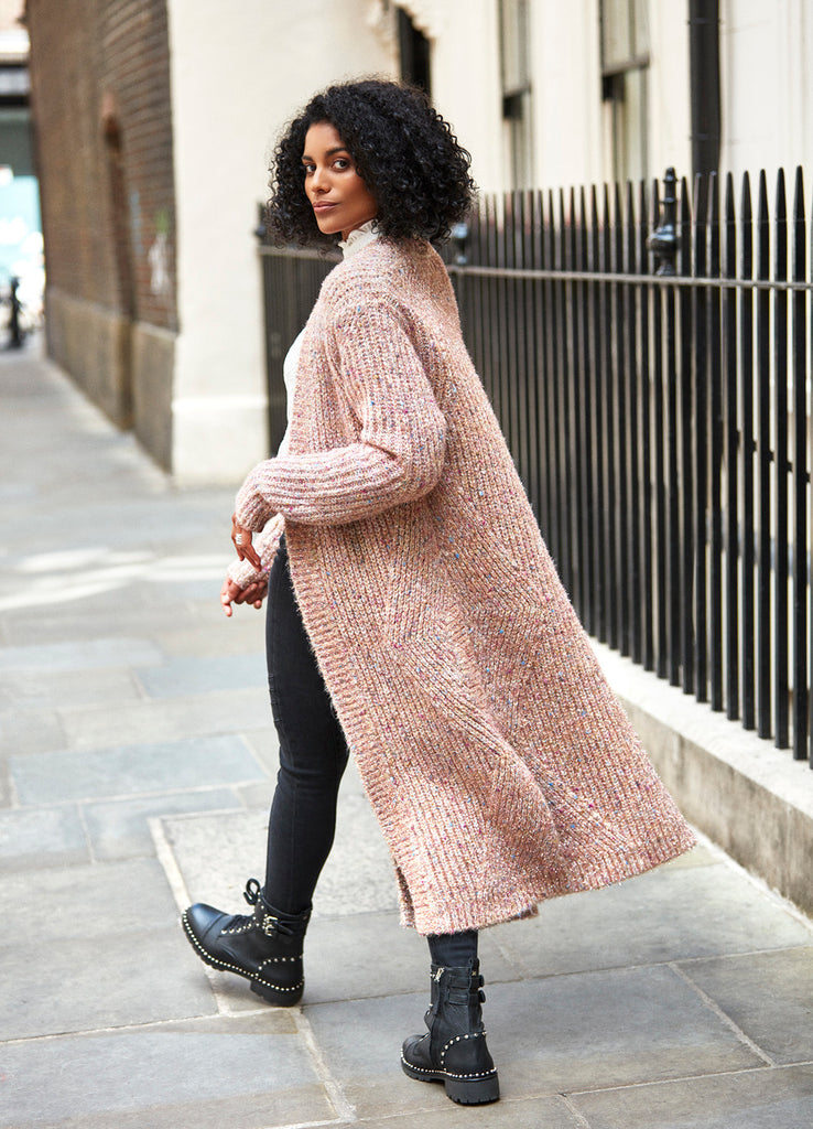 pink chunky knit cardigan