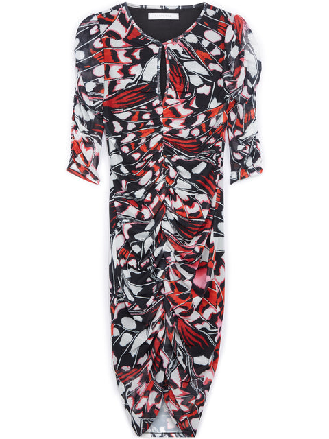 Roma Red Butterfly Print Midi Dress