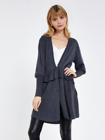 Grey Ruffle Long Line Cardigan