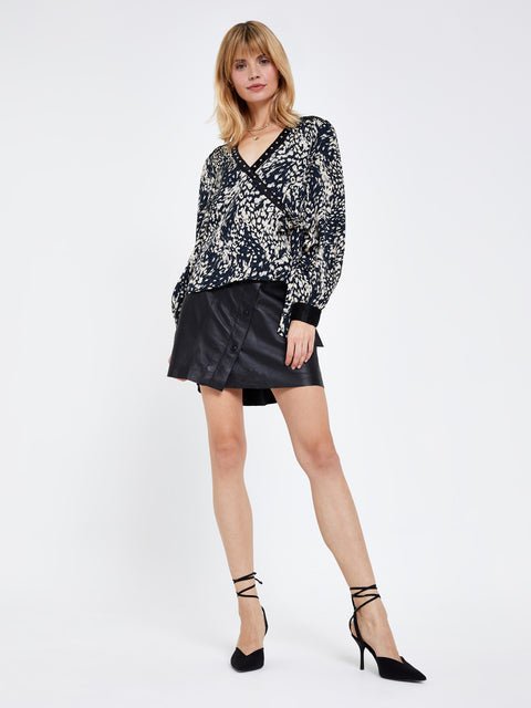 Black Animal Print Wrap Top