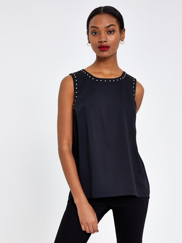 Black Stud Detail Shell Top