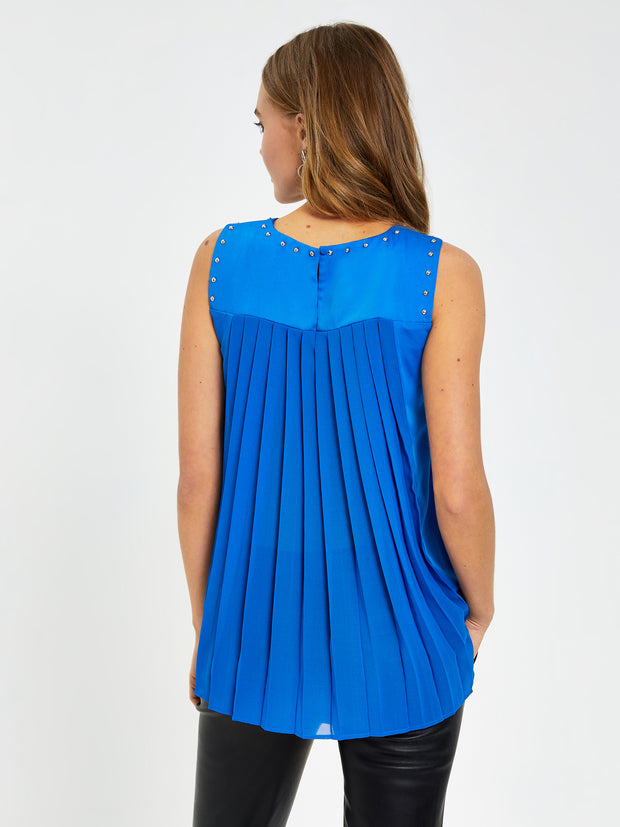 Blue Stud Detail Shell Top