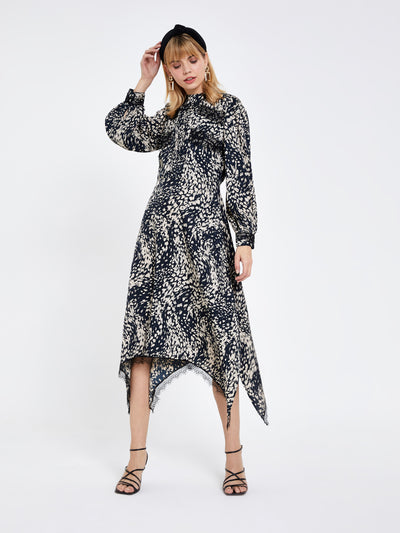 Black Animal Lace Trim Midi Dress