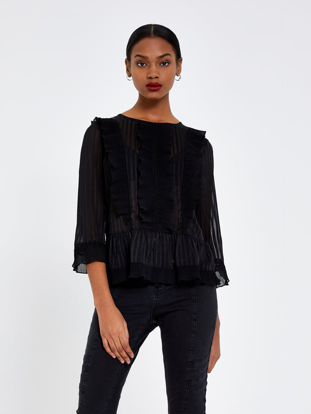 Black Ruffle Trim Top