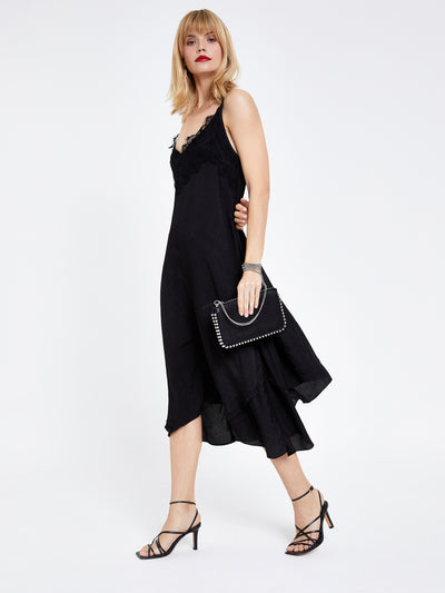 Black Lace Midi Cami Dress