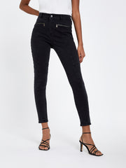 Washed Black Biker Stretch Skinny Jeans