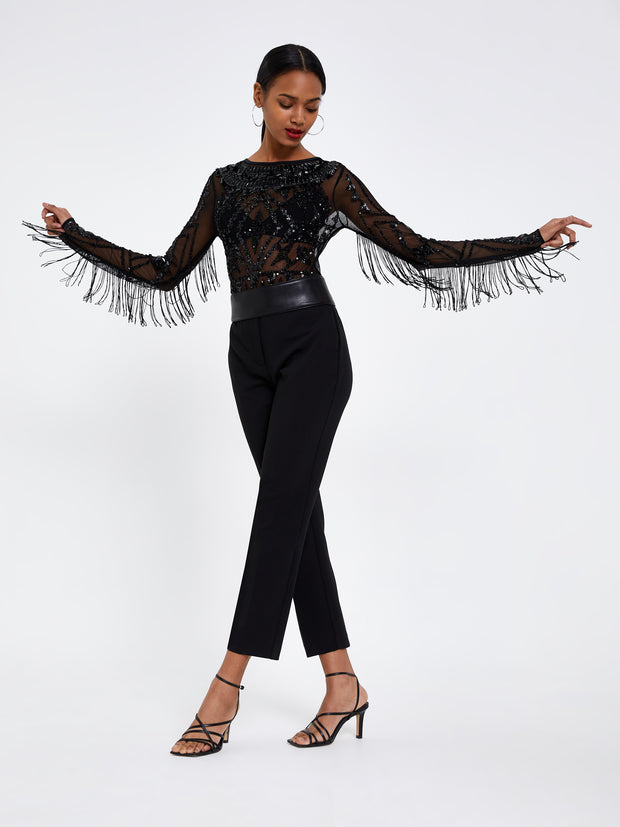 Black Embellished Fringe Bodysuit