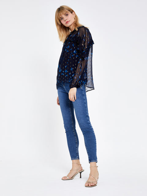 Navy Blue Swallow Frill Print Top