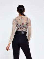 Cream Floral Embellished Bodysuit