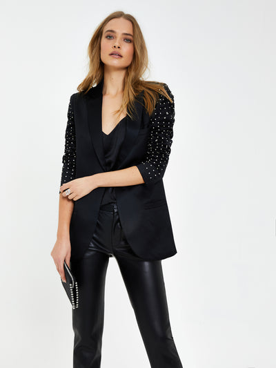 Black Embellished Sleeve Blazer