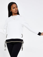 Cream Eyelet & Ribbon Detail Sweatshirt