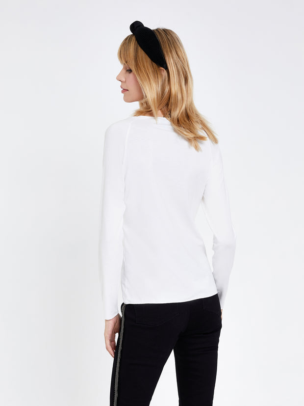 White Boat Neck Long Sleeve T-Shirt