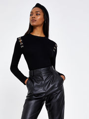 Black Hook and Eye Jersey Rib Top