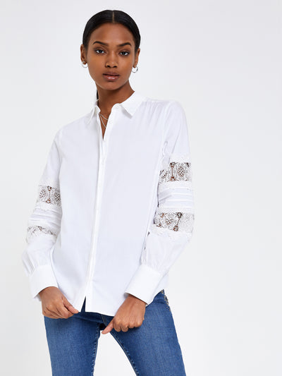 White Lace Sleeve Shirt