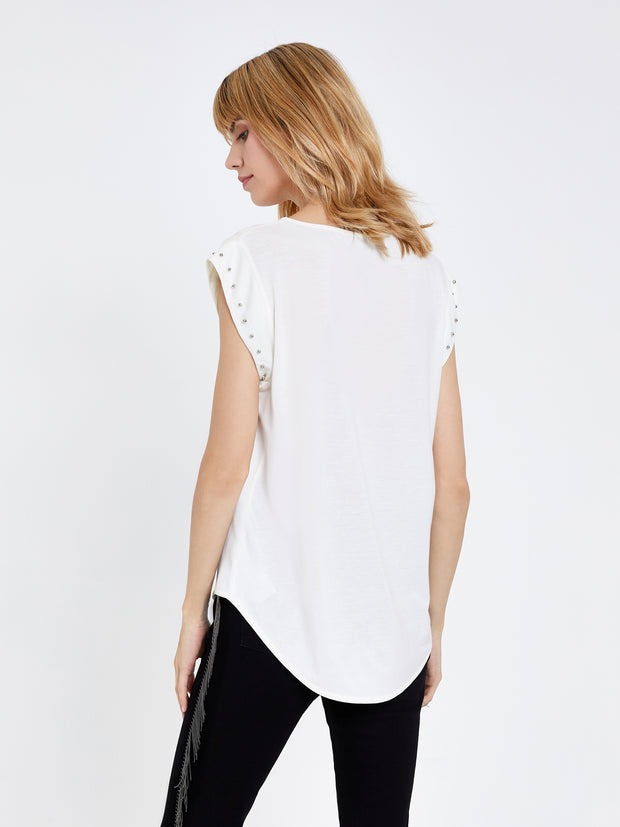 Cream Stud Detail Top