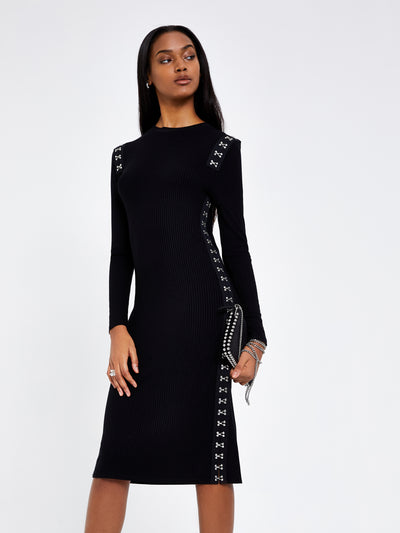 Black Hook & Eye Rib Jersey Midi Dress