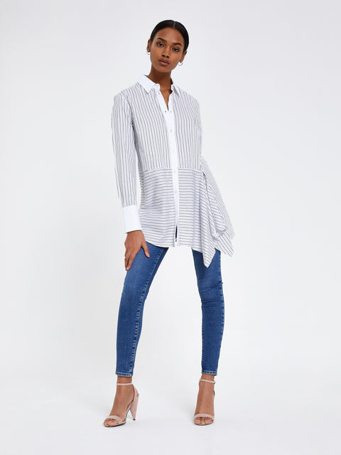 White Asymmetric Stripe Shirt