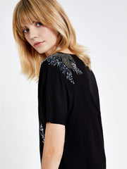 Black Sequin Embellished T-Shirt
