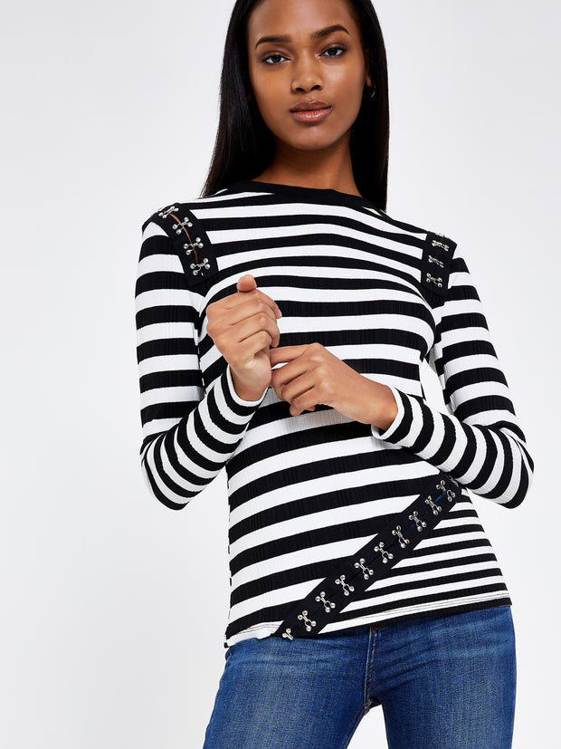 Black & White Stripe Hook and Eye Rib Top